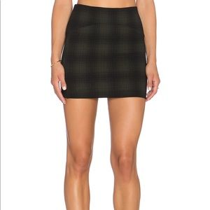 Mini Skirt in Olive Green and Black Plaid